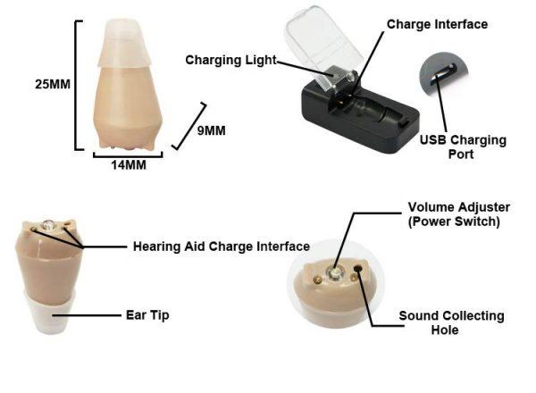 jh909 hearing aids size diagram